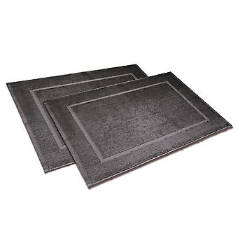 Badvorleger set 50 x 70cm 2-piece, anthracite, made of 100% cotton, in polybag.
