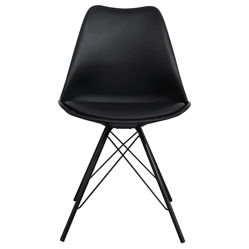 Fusion Living Eiffel Inspired Black Plastic Dining Chair With Black Metal Legs