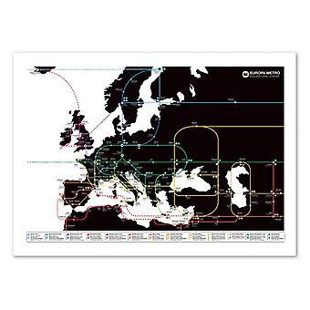 Pôster de Arte - Europa Metro Map - Olivier Bourdereau