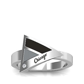 Chicago White Sox Engraved Sterling Silver Diamond Geometric Ring In Black and Grey
