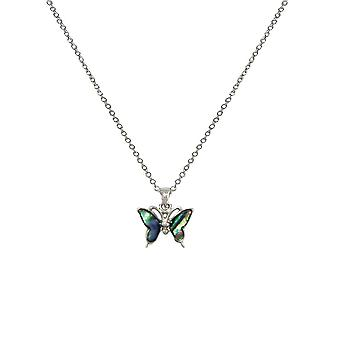 Eternal Collection Take Flight Paua Shell Petite Butterfly Silver Tone Pendant Necklace