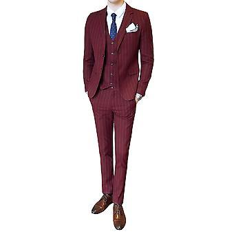 Allthemen trajes de hombre Slim Stripe cuatro estaciones 3 piezas trajes Blazer&Pants&vests