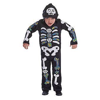 Bristol Novelty Childrens/Kids farvede knogler skelet kostume