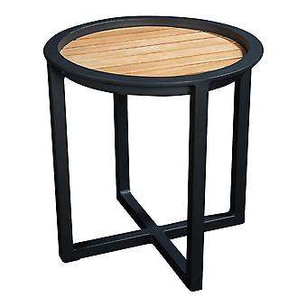 Plage7 - France QUEENS LOUNGE TABLE Alum/TEAK 50CM  Noir
