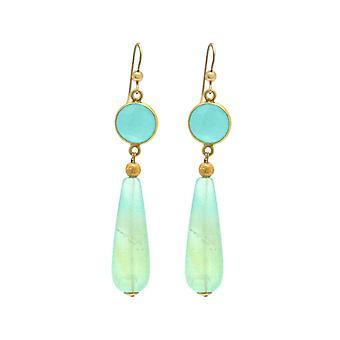 Boucles d'oreilles Gemshine chalcédone, gouttes de pierres précieuses d'opale. 925 Argent ou plaqué or