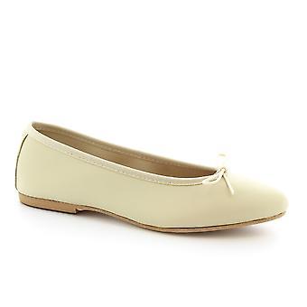 Leonardo Scarpe Donna's ballerine fatte a mano scarpe in pelle napa bianco sporco