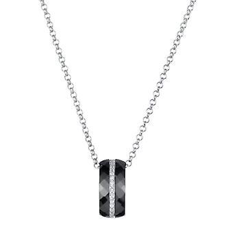Ceranity 1-52/0002-N - Women's Necklace in Silver 925/1000 - Ceramics and zircon - 4 -51g - 45cm - Black