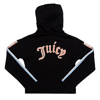 Junior Girls Juicy Couture Gothic Script Hoody In Black- Ribbed Cuffs And Hem-