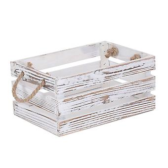 Small Distressed White Rope Handled Wooden Crate