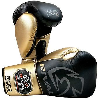 Rival Boxing RS100 Pro Sparring Boxing Gloves - 16 oz. - Black/Gold