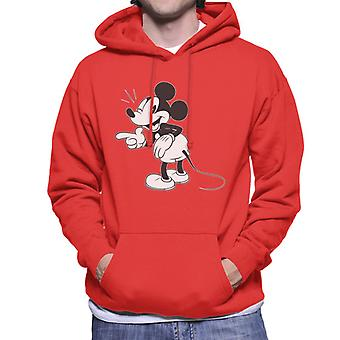 Disney Mickey Mouse Wink Black And White Men's Hooded Sweatshirt