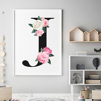 Floral letter wall decal