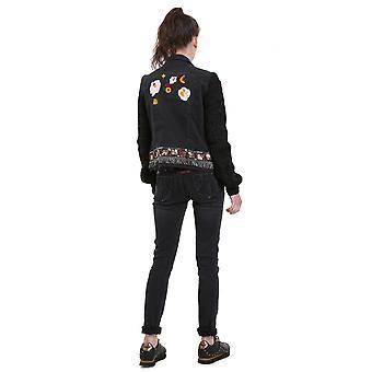 Desigual Women's Florecillas Embroidered Denim Jacket