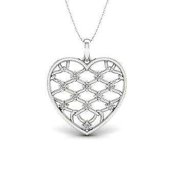 Igi certified s925 silver 0.22ct tdw diamond chain link fence heart necklace Igi certified s925 silver 0.22ct tdw diamond chain link fence heart necklace Igi certified s925 silver 0.22ct tdw diamond chain link fence heart necklace Igi