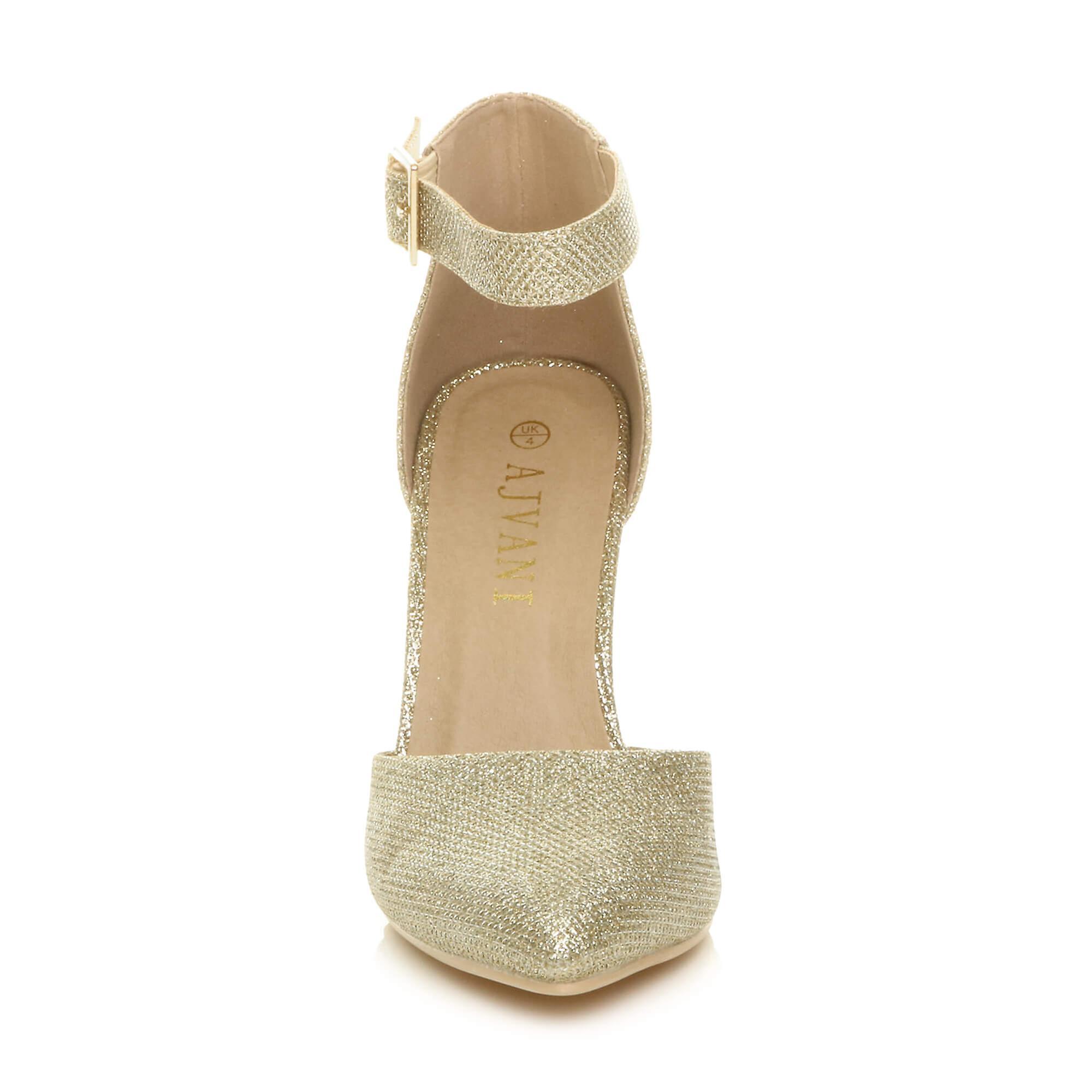 Ajvani dame høj blok heel cuff ankel rem spænde pegede retten sko pumper sandaler