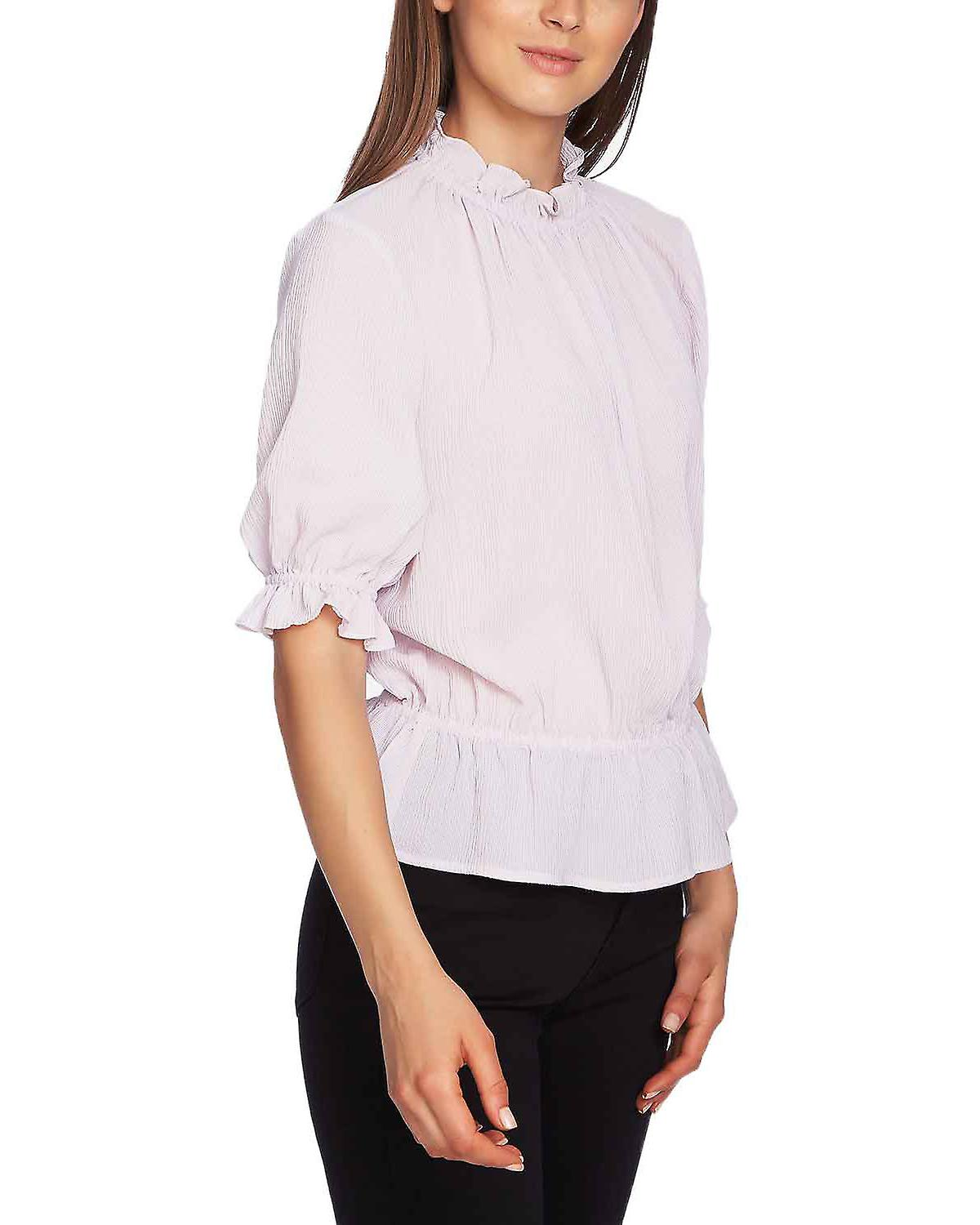 1.State Short Sleeve Micro Check Blouse