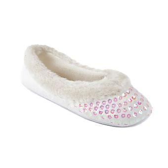 SlumberzzZ Womens paillettes brodées de chaussons de Ballet de molleton