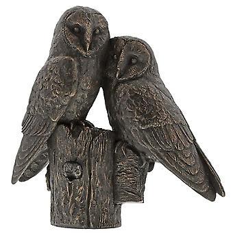 Border Fine Arts Studio bronzen paar uilen beeldje