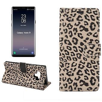 for Samsung Galaxy Note 9 tilfelle, folio flip leopard lær lommebok veske, brun