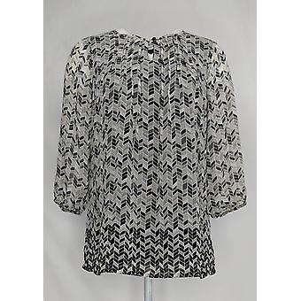 Liz Claiborne New York Women's Top Border Print Tunic Beige /Black A262960