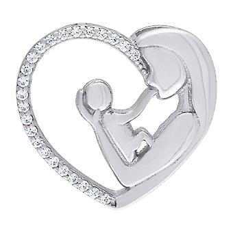 925 Sterling Silver Polished Mother Child Love Heart 2.61gm Womens Charm Pendant Necklace