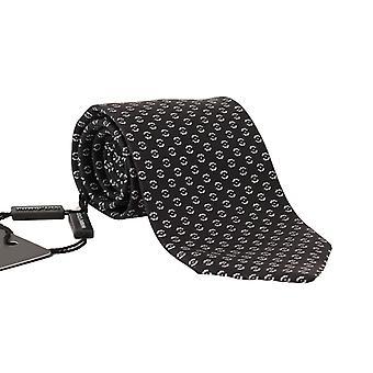 Dolce & Gabbana Black Silk White Wide Tie