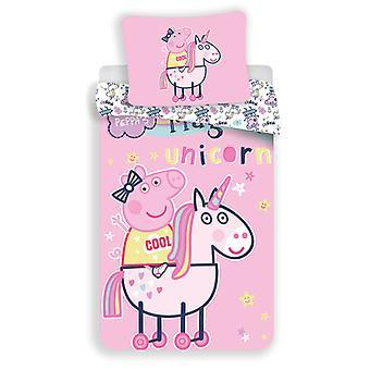Peppa Pig Unicorn Single Duvet Cover Set - European Size