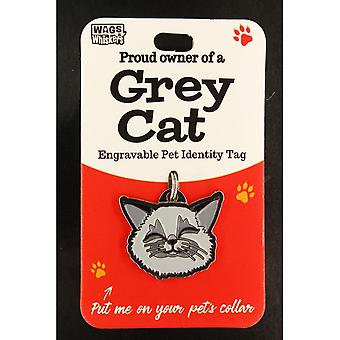 Wags & Whiskers Pet Cat Identity Tag - Graue Katze