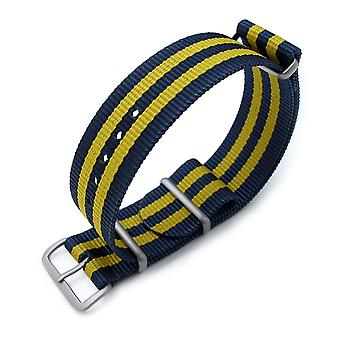 Strapcode nato miltat 18mm, 20mm and 22mm g10 military watch strap ballistic nylon armband, brushed - double yellow and blue