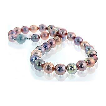 Luna-Pearls helmi kaulakoru lyhyt hopea rhod. 925 Makeanveden kasvatus Helmi Ming 11-12mm
