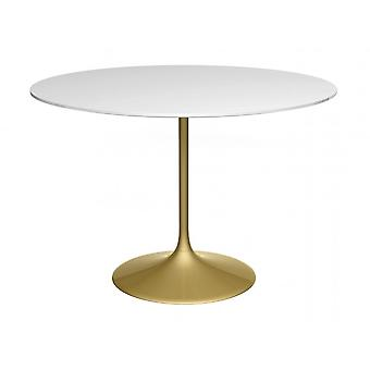 Gillmore Pedestal Large Dining Table White Gloss And Brass