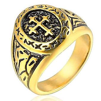 Jerusalem cross knight templar motif ring