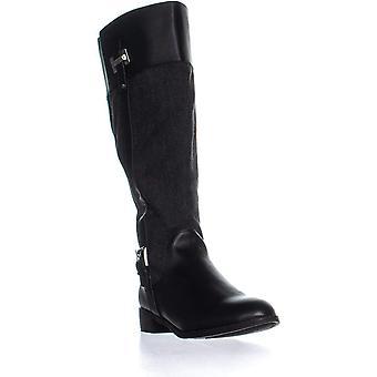 Karen Scott Womens Deliee tecido amêndoa Toe a altura do joelho, equitação botas