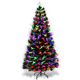 5FT Fiber Optic Artificial Christmas Tree LED Blossom Effects W/ Top Star New
