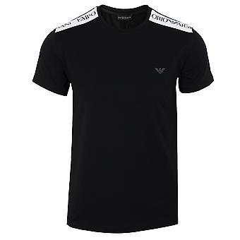 Emporio armani men's black contrast shoulder t-shirt