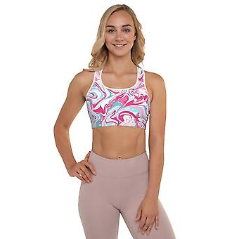 Padded Sports Bra | Pink Marble