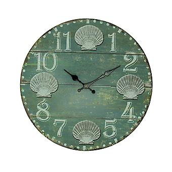 Sea Green Weathered Wood Coastal Seashell Wall Clock