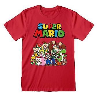 Män & apos; s Super Mario Tecken Grupp Pose Röd T-shirt