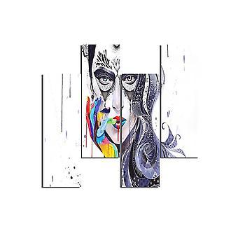 Bunte Mädchen 68 Malerei in MDF, L19xP0.3xA50 cm (4 Stück)