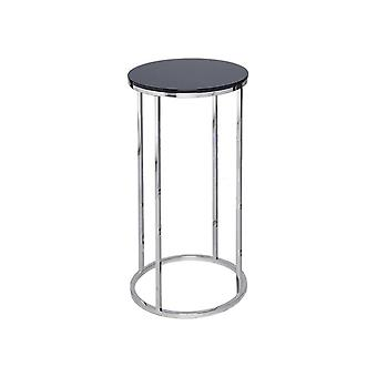 Gillmore Black Glass And Silver Metal Contemporary Circular Lamp Table