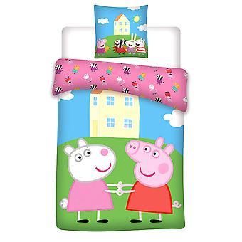 Peppa Pig Greta & Suzy Sheep Edredom Capa Cama Conjunto Reversível 140x200+70x80cm