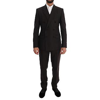 Dolce & Gabbana Brown Striped Double Breasted 3 Piece Suit