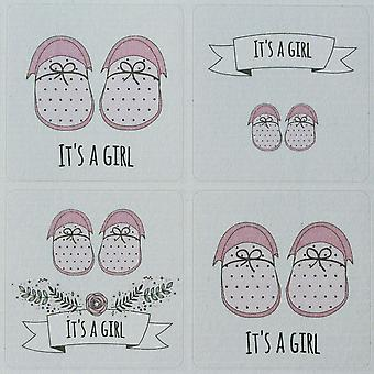 It's A Girl Sticker Sheet - 35 Stickers - Single Sheet New Baby Shower Shoes Roses