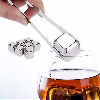 Reusable Golden Stainless Steel Whiskey Stones Ice Cubes Chilling Rocks - Ice