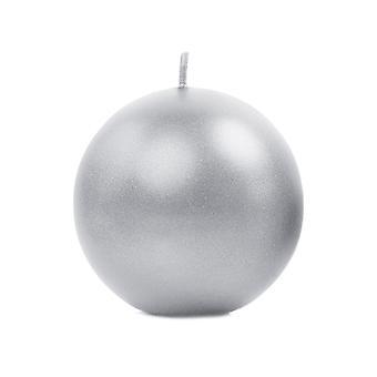 Bougie sphère non parfumé unique métallique argent 8cm