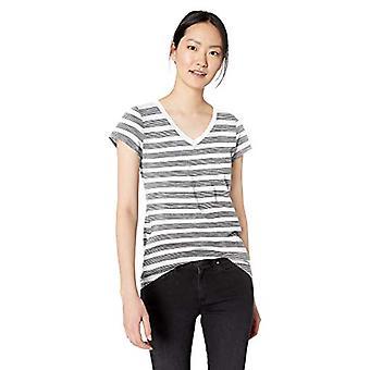 Brand - Daily Ritual Women's Lived-in Cotton Slub Short-Sleeve V-Neck T-Shirt, White Stripe, Medium