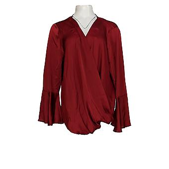 Masseys Women's Plus Top Blouse w/ Wrap Front Red