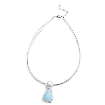 Amazonite Necklace Stainless Steel White Shell Pearl, 20.001 Ct TJC