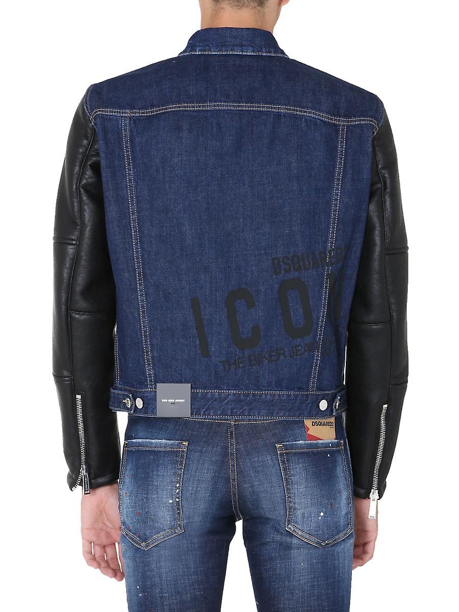 Dsquared2 S79am0009s30309470 Hombres's Blue Cotton Outerwear Chaqueta