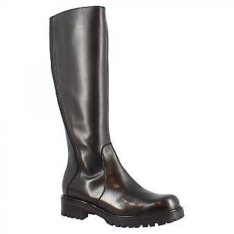 ليوناردو أحذية المرأة & apos;ق الأحذية المصنوعة يدويا أزياء الركبة عالية في جلد العجل الأسود مع الرمز البريدي الجانب